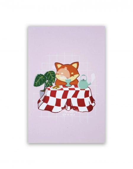Teatime Fox on white BG
