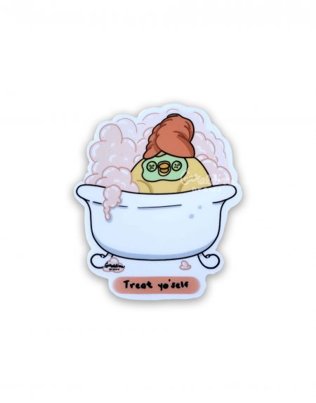Treat yoself sticker on white BG