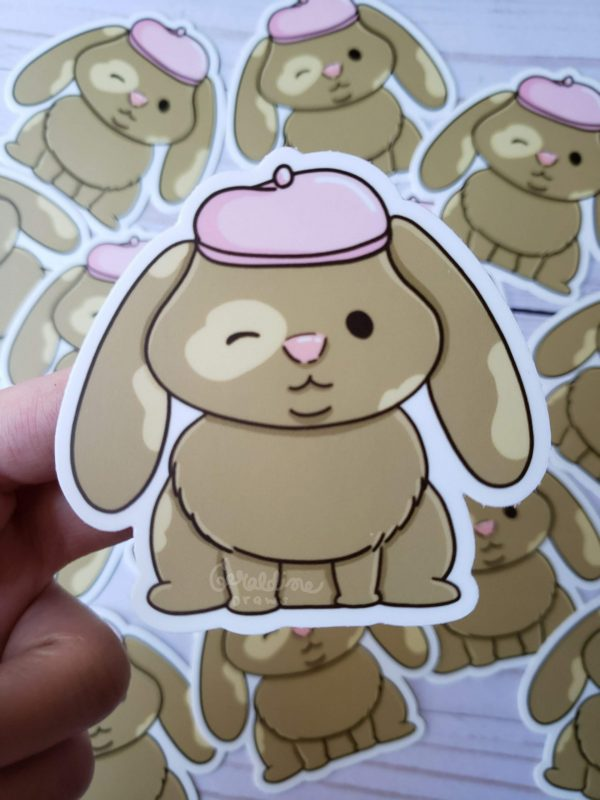 Vinyl Beret Bunny sticker closeup