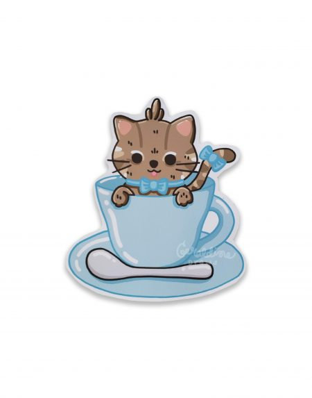 kitty teacup sticker on white bg