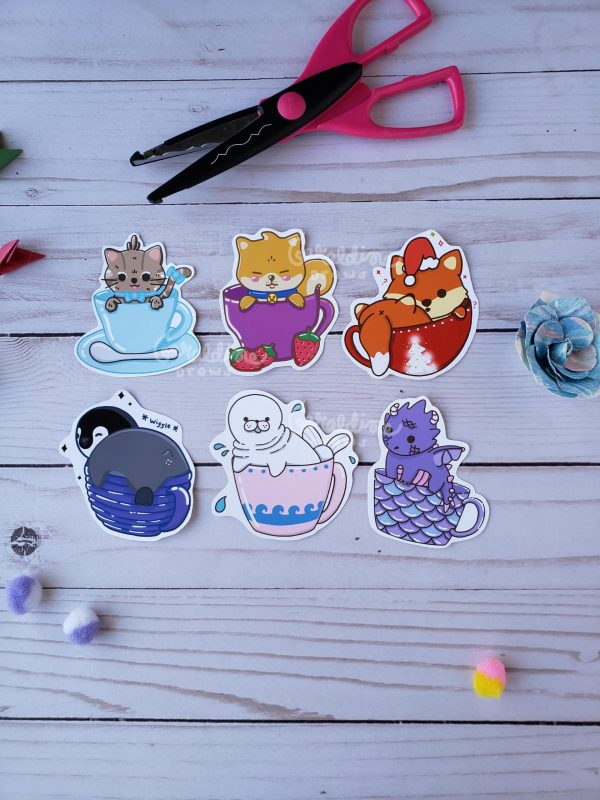 Teacup animal sticker set on wood BG
