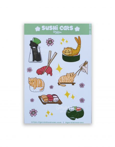 sushi cats sticker sheet on white bg