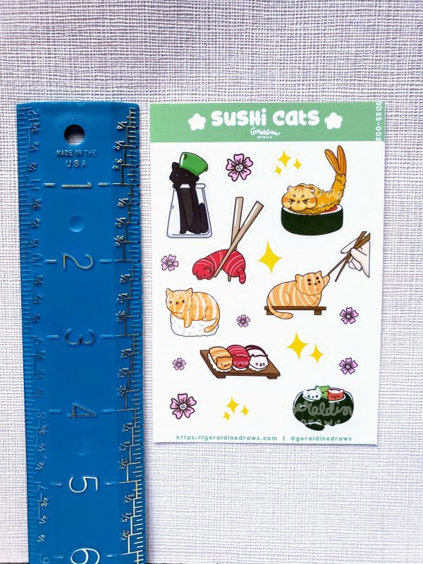 sushi cats sticker sheet measured