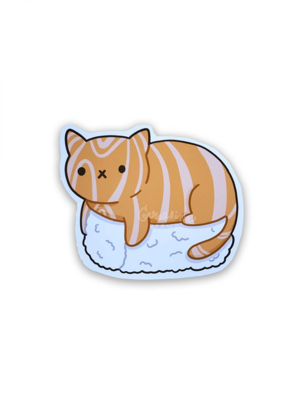 salmon cat on white background