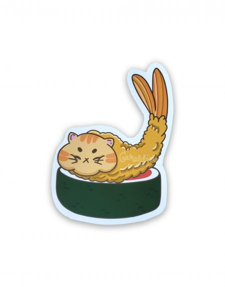 shrimp catpurra sticker on white bg