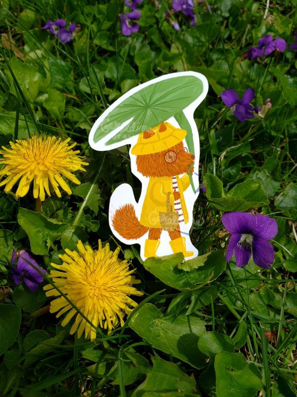 Rainy Fox sticker in grass BG