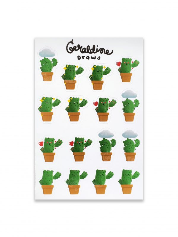 catcus sticker sheet on white bg