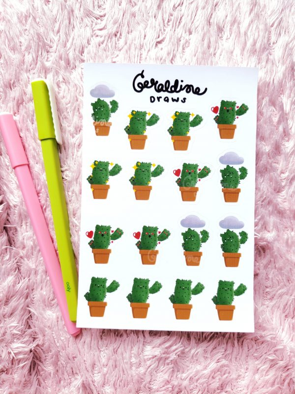 catcus sticker sheet on pink bg