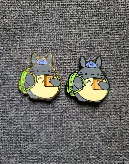 totoro gold and black nickel pin