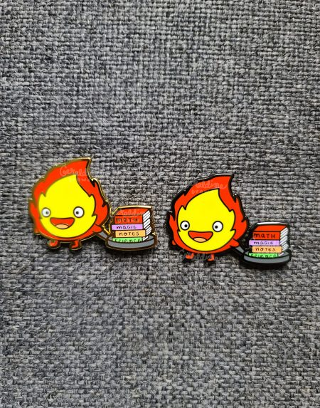 calcifer gold and black nickel pin
