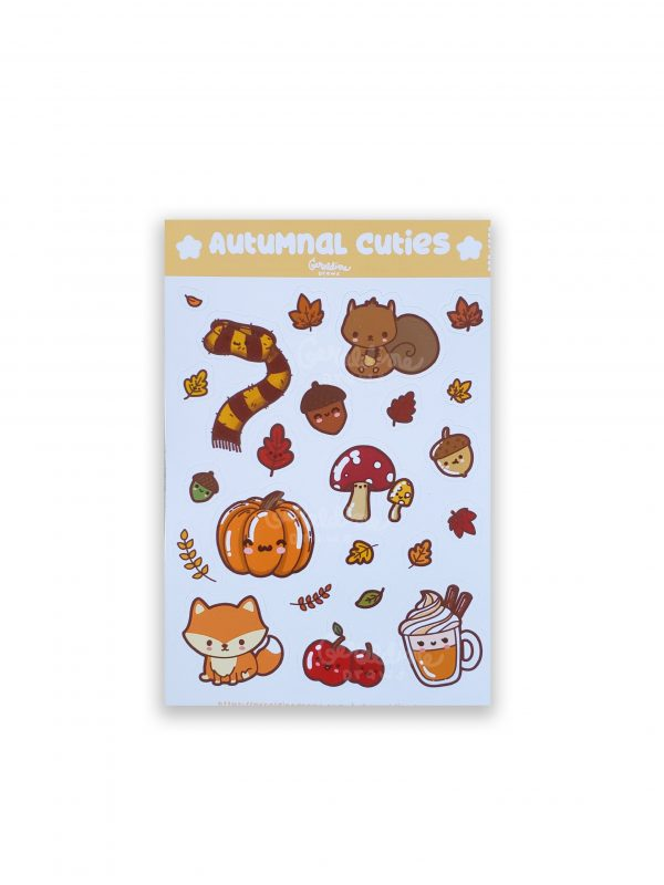 Autumnal cuties sticker sheet white bg