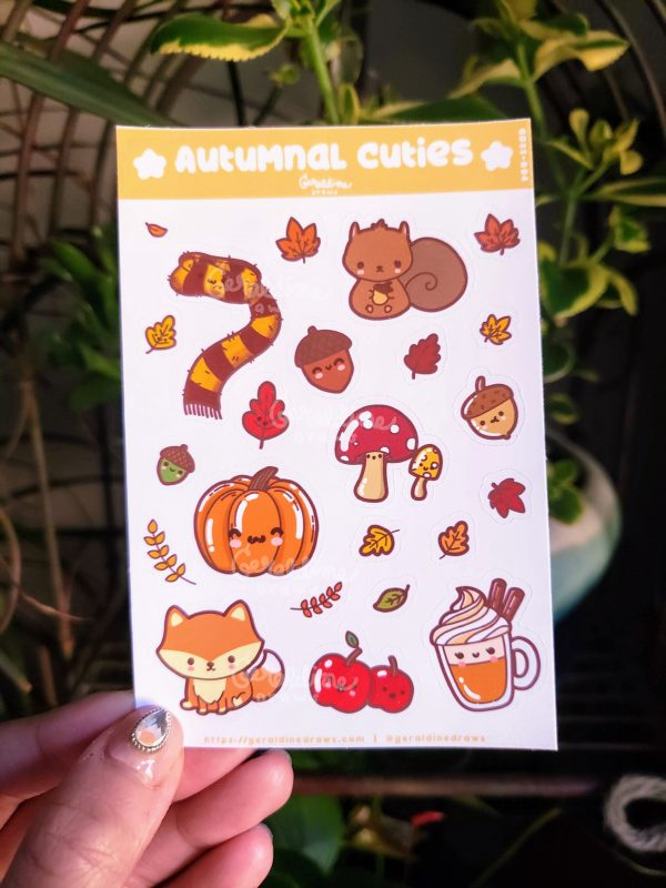 Autumnal cuties sticker sheet on plant bg