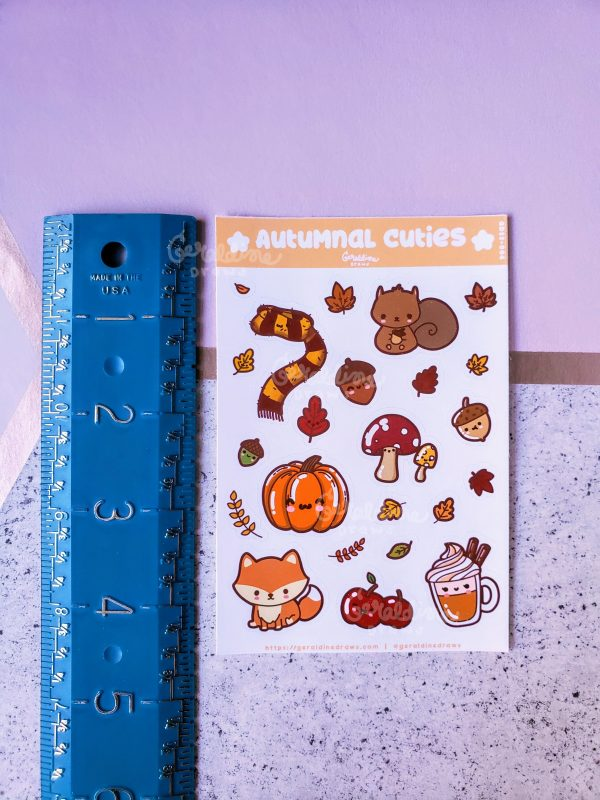 autumnal cuties sticker sheet measured