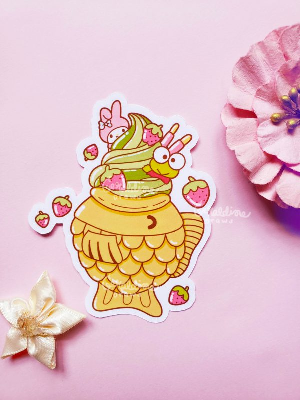 keroppi taiyaki sticker on pink bg