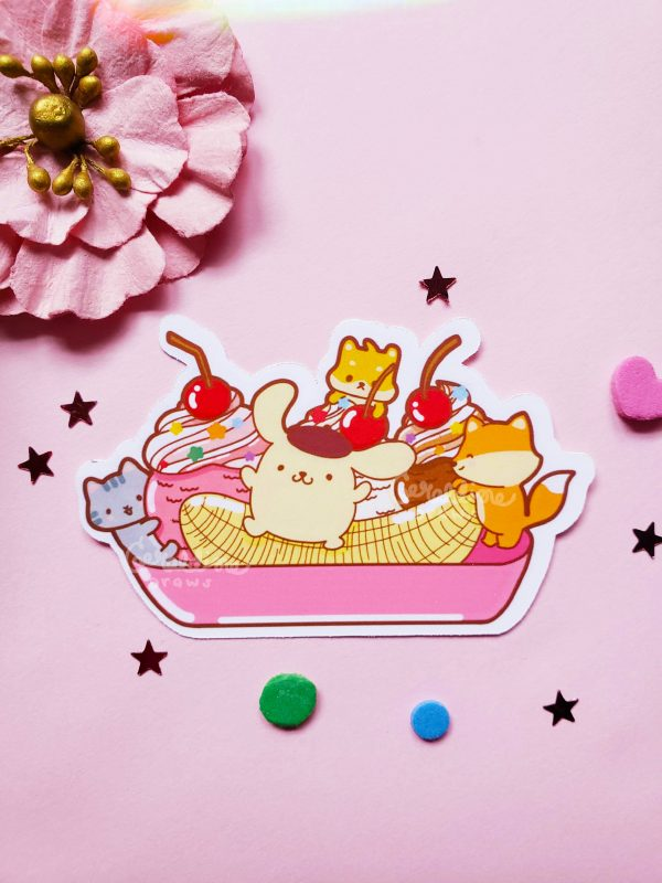 Pompompurin sticker on pink bg