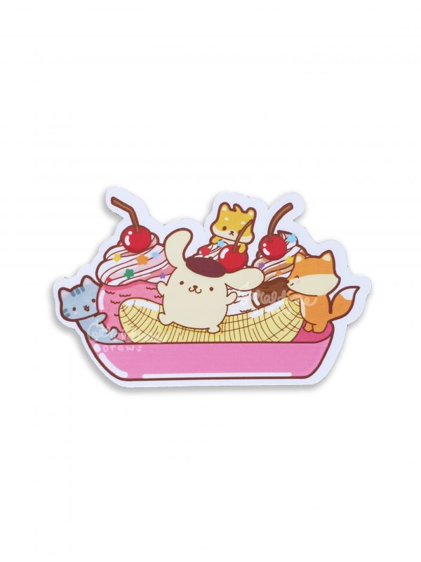 Pompompurin sticker on white bg