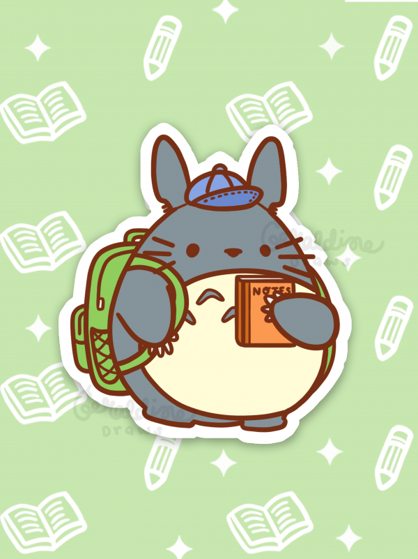 totoro vinyl sticker green bg