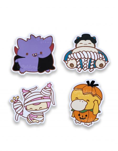 Halloween Pokemon sticker pack on white bg