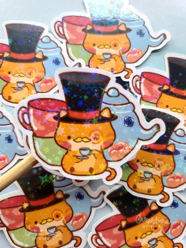sophisticated kitty holo sticker