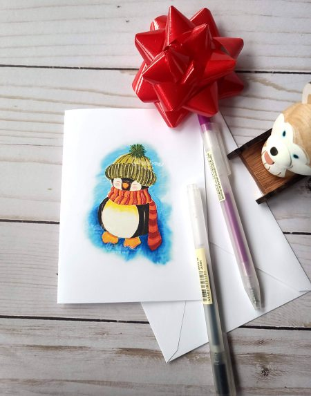 Watercolor Penguin Greeting Card