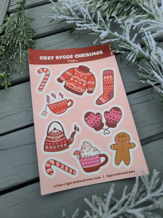 Cozy Hygge Christmas Sticker Sheet angled view