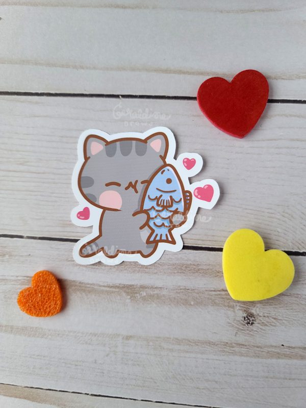 kitty and fish friend sticker