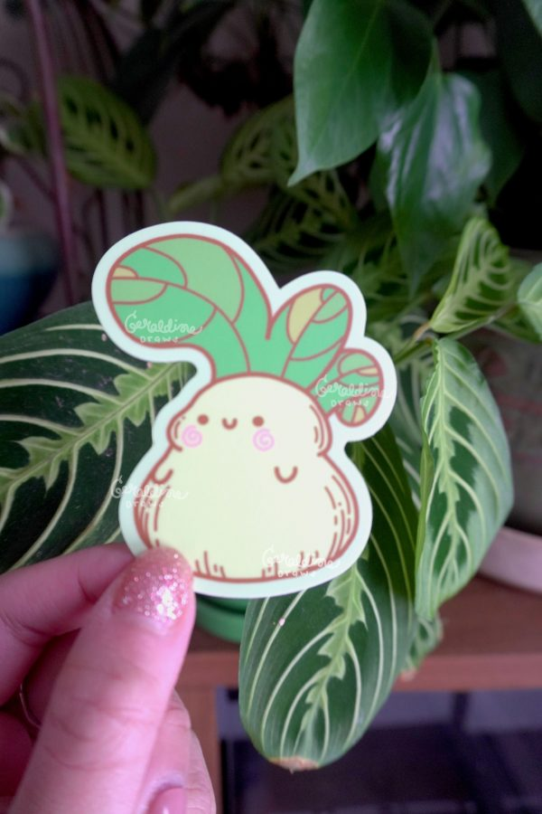 bok choy sticker on plant background