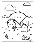digital coloring page of 2 cats playing ball in the hills