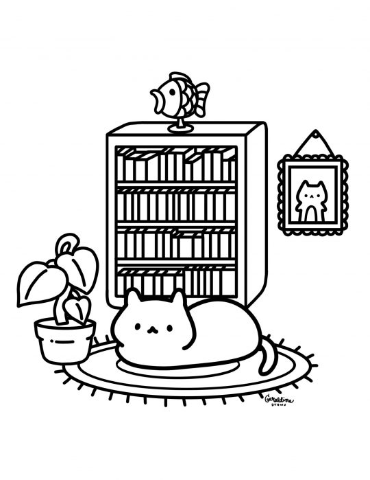 cozy cat living room digital coloring page