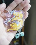 gamer kitty holo keychain with blue video game charm