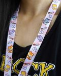 Person wearing a stabby animals lanyard